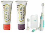 Jack N' Jill Natural Toothpaste, 50ml (Set of 2) with Vibrations Toothbrush, Strawberry/Blackcurrant