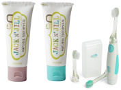 Jack N' Jill Natural Toothpaste, 50ml (Set of 2) with Vibrations Toothbrush, Raspberry/Blueberry