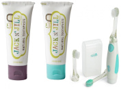 Jack N' Jill Natural Toothpaste, 50ml (Set of 2) with Vibrations Toothbrush, Blackcurrant/Blueberry