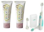Jack N' Jill Natural Toothpaste, 50ml (Set of 2) with Vibrations Toothbrush, Raspberry