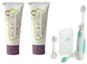 Jack N' Jill Natural Toothpaste, 50ml (Set of 2) with Vibrations Toothbrush, Blackcurrant