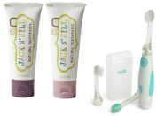 Jack N' Jill Natural Toothpaste, 50ml (Set of 2) with Vibrations Toothbrush, Blackcurrant/Raspberry