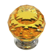 Revesun. 30mm Yellow Crystal Glass Door Knob Cabinet Cupboard Pull Drawer Handle Kitchen Wardrobe Home Hardware Come with Screw 1PCS