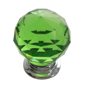 30mm Green Crystal Glass Door Knob Cabinet Cupboard Pull Drawer Handle Kitchen Wardrobe Home Hardware Come with Screw 1PCS