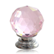 Revesun. 40mm Pink Crystal Glass Door Knob Cabinet Cupboard Pull Drawer Handle Kitchen Wardrobe Home Hardware Come with Screw 1PCS