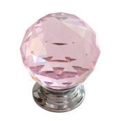 Revesun. 30mm Pink Crystal Glass Door Knob Cabinet Cupboard Pull Drawer Handle Kitchen Wardrobe Home Hardware Come with Screw 1PCS