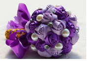 Hestian 13cm Bridesmaid Bouquet Luxury Handmade Romantic Purple Silk Roses with Big Pearls Rose Bridal Wedding Bouquet Silk Rose Hand Tie