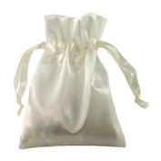 Satin Gift Bags Drawstring Pouches 7.6cm x 10cm Ivory