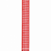Offray Wired Edge Gingham Craft Ribbon, 3.4cm x 3.7m, Red