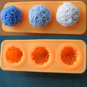 Rose Ball 1pcs with 3cav Silicone Soap Making Moulds Candle Making Moulds 1pcs 40ml, 40g
