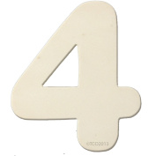 The Crafts Outlet 10cm Unfinished Plywood Wooden Number, 0.6cm Thick, Number 4