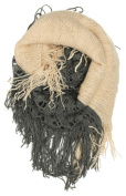Dry77 Fashion 2-Tone (Solid and Net Pattern) Knitted Loop Infinity Scarf, Dark Grey Beige
