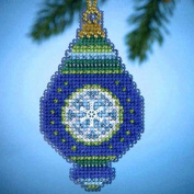 Mill Hill Jewels Christmas Ornament Counted Cross Stitch Kit w/ Glass Beads & Charm Lapis MH164306