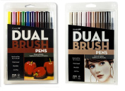 Tombow Dual Brush Pen Set, 20-Pack, Primary Colours and Portrait Colours