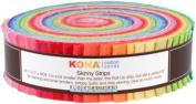 Robert Kaufman KONA COTTON SOLIDS BRIGHT Skinny Strips 3.8cm Precut Cotton Fabric Quilting Roll Assortment SS-106-41