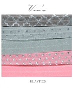 Ballerina : Sparkle & Foil Printed 1.6cm Fold Over Elastic : Pink Grey Silver : 10 Yards / 2 Yards Each