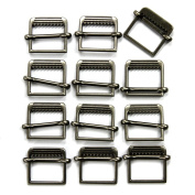 Set of 12 Slide Style Metal Buckles, Antique Silver
