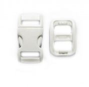 "20 White Safety (BREAKAWAY) Buckles with Matching Triglides. 3/8"" (10mm). Contoured Side-Release. Good for Cat Collars!"