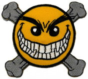 Funny Smiley Smile Happy Yellow Face Danger Funny Biker DIY Applique Embroidered Sew Iron on Patch SM-001