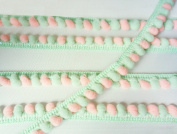 Mint Green Baby Pink Mini Pom Pom Mix Colours Fringe Lace Dangle Trim Fluffy Bobble Ball Ruffle Sewing Supplies