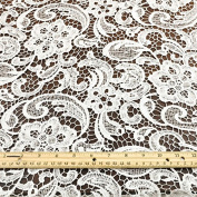 Venice Embroidered White Lace Fabric for Wedding Lace Bridal Elegant Dress Fabric by the Yard