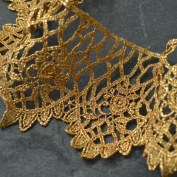 8.3cm Metallic Gold Lace Trim for Bridal, Costume or Jewellery, Crafts and Sewing by 1 Yard, LP-MX-2822