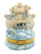 Baby Birth or Baptism Gift 8.9cm Porcelain Noah's Ark Figurine Keepsake Box