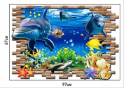 3D window Sea World Dolphin underwater PVC Art Wall Sticker Home Decor Mural 70*100cm
