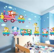 Baby Kids Safari Animals Train Wall Stickers Nursery Decor Art Mural Removable