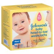 Johnson's Baby Bath Head-to-Toe Disposable Washcloths 14 ea