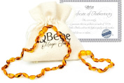 QBebe - Amber Teething Necklace for Babies - Teething Pain Reduce, Anti Inflammatory and Drooling Reduce Properties - Certificated Authentic Baltic Amber - Safety Screw Connexion, Easy to Use - Free Amber Teething Bracelet