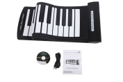 Konix USB Midi Roll up Piano Flexible 61 Keys with Soft Black and White Keyboard Play with Computer