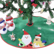 Ohuhu Santa and Reindeer Christmas Tree Skirt Green 90cm