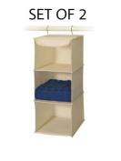 Richards Homewares 3 Shelf Sweater Organiser - Canvas/Natural - Set Of 2