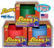 POOF-Slinky Original Plastic Slinky Jr. Green, Neon & Blue Gift Set Bundle - 3 Pack