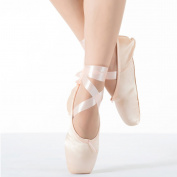 Girls Pointe Shoes for Ballet Leather Sole with Free Gel Silicone Toe Pads and Ribbons