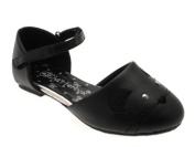 NEW CHATTERBOX GIRLS KIDS MOUSE FACE OPEN BALLET PUMPS BLACK WHITE WEDDING SHOES FAUX LEATHER JUNIOR SIZES 4 - 12