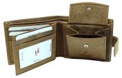 Starhide Mens Designer High Quality Brown Distressed Hunter Vintage Leather Tri-fold Wallet Gift Boxed 1065