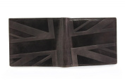 The Original Slanted Union Jack Embossed Brown Distressed Hunter Leather Bifold SLIM Wallet - Dark Brown / Light Brown Tan