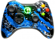 BLUE SPLATTER 5000 + Modded Controller Xbox 360 Hydro Dipped Mod
