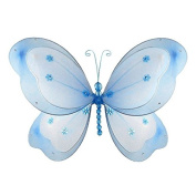 The Butterfly Grove Chloe Butterfly Decoration 3D Hanging Mesh Nylon Layered Decor, Hawaiian Blue, Large, 46cm x 28cm