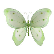 The Butterfly Grove Chloe Butterfly Decoration 3D Hanging Mesh Nylon Layered Decor, Green Honeydew, Large, 46cm x 28cm