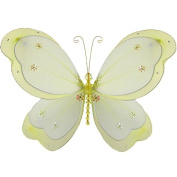 The Butterfly Grove Chloe Butterfly Decoration 3D Hanging Mesh Nylon Layered Decor, Yellow Daffodil, Large, 46cm x 28cm