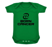 Born Cancer Zodiac Design Design Baby Bodysuit Emerald Green with Black Print