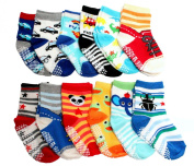 Baby Toddler Kids Boy Cotton Anti-slip Socks Packs of 12 - BUGS CARS SNEAKER DINOSAURS Age 1 2 3
