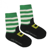 Kid's Socks with Leprechaun Foot Print, Black colour with Green and White Stripes