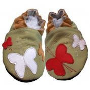 "Soft & AMP; Chic by bbkdom ""Olive"" Crawling Shoes Butterflies First Walking Shoes-Leather"