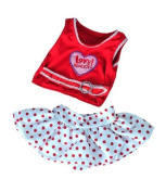 Love Rocks - Skirt & Red Top Outfit with Ear Muffs fits 15-16 inch (40cm) Teddy Bears