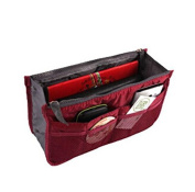 Liroyal Wine Red Handbag Pouch Bag in Bag Organiser Insert Organiser Tidy Travel Cosmetic Pocket Makeup Bag