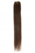 Single Weft Clip in Hair Human Hair Extensions 46cm Brown (2) American Pride